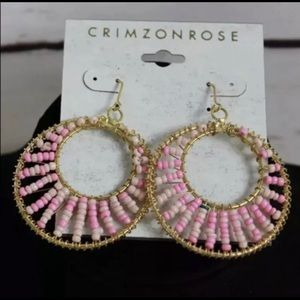 CRIMZON ROSE Gold And Pink Beaded Dangle earrings